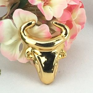 Vintage Christian Lacroix Brooch Gold Taurus Bull
